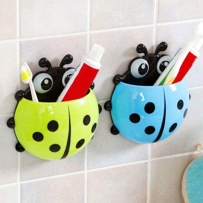 Cartoon Ladybird Wall Suction Toothbrush Holder