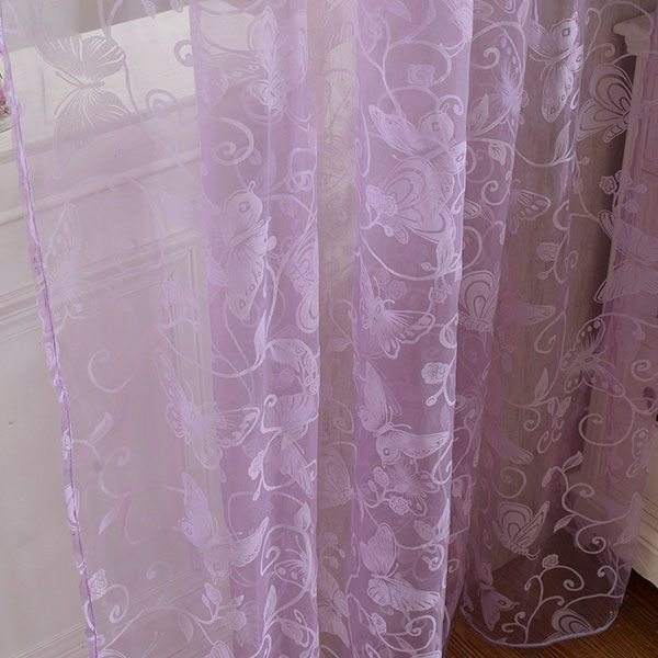 2 Panels Butterflies Embroidery Window Sheer Tulle Curtain