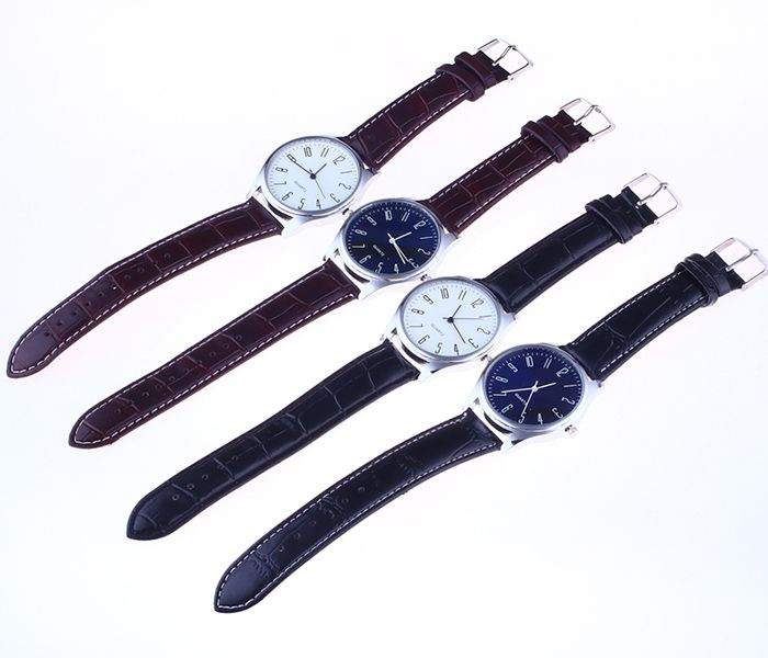Faux Leather Strap Analog Number Watch