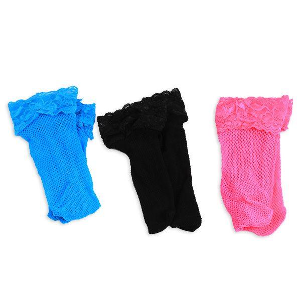Lace Trim Embellished Fish Net Over Short Ankle Socks