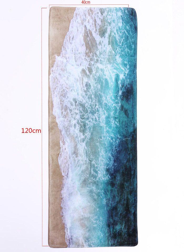 Sea Beach Print Flannel Skidproof Water Absorb Carpet