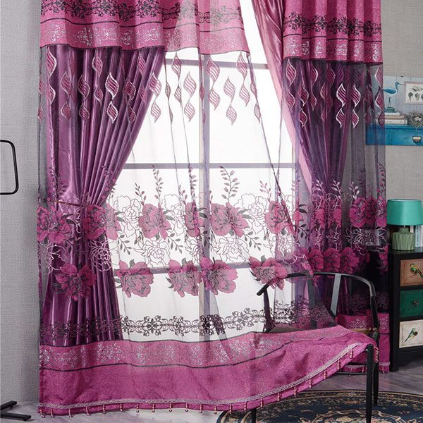 Window Screen Flower Sheer Fabric Tulle with Pendant Decor