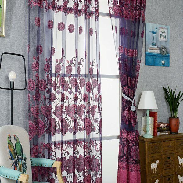 European Sheer Window Flower Tulle Curtain For Living Room