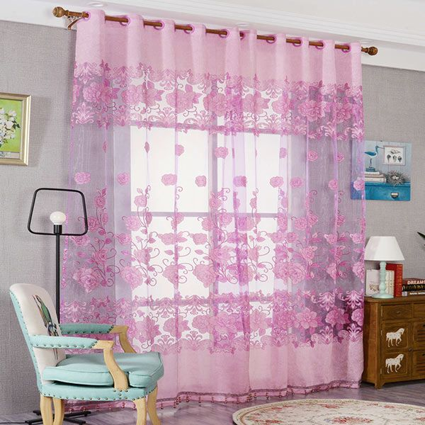 2018 Window Screen Sheer Flower Tulle Curtain For Living Room RED W ...