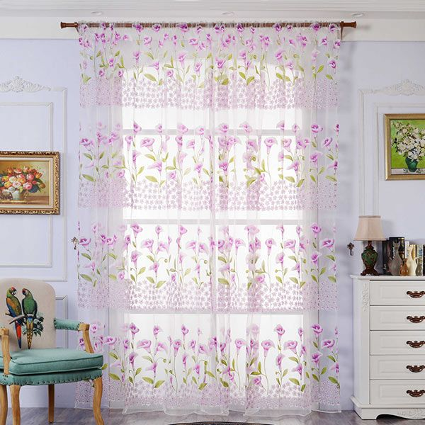 Calla Lily Embroidery Sheer Window Tulle For Bedroom