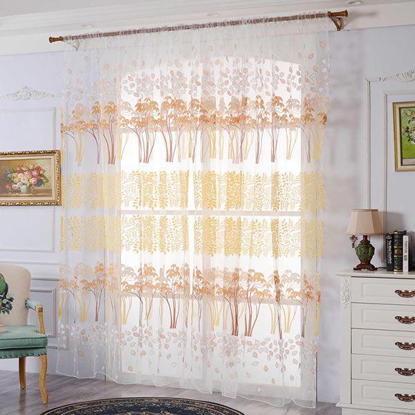 Leaf Pattern Transparent Tulle Fabric Window Curtain