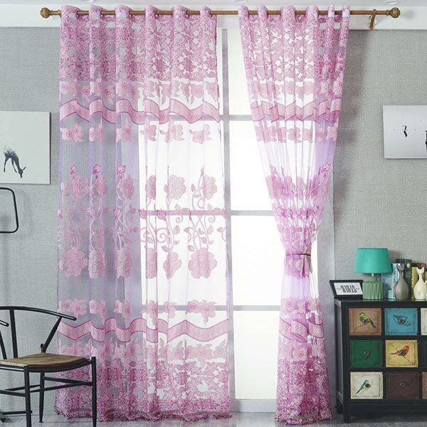 Jacquard Sheer Tulle Curtain Window Door Screen