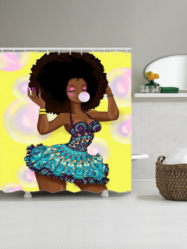 Fashion Girl Blow Bubbles Pattern Shower Curtain