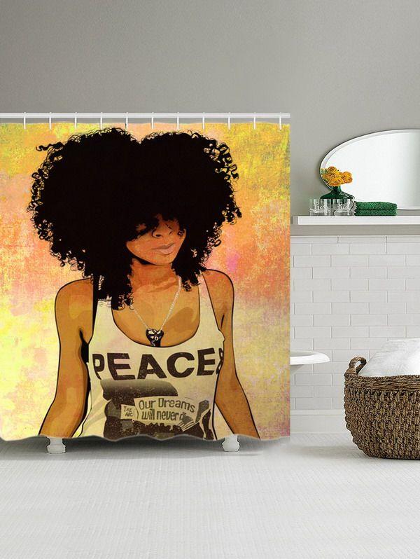 Hip Hop Afro Hair Girl Shower Curtain COLORMIX180200CM