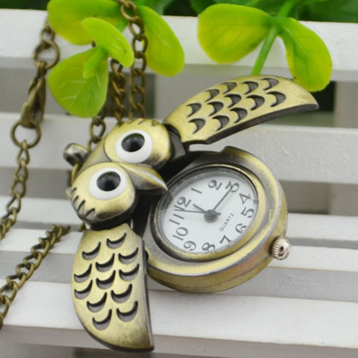 Owl Pendant Number Pocket Watch