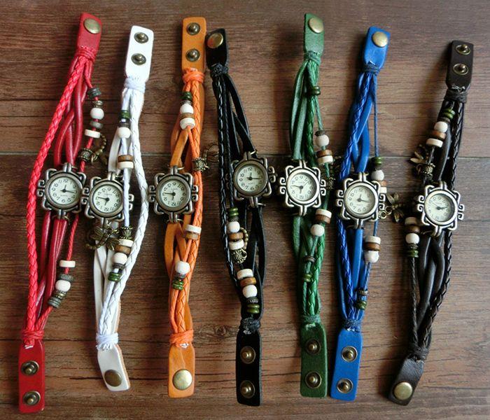 Dragonfly Braided Number Vintage Bracelet Watch