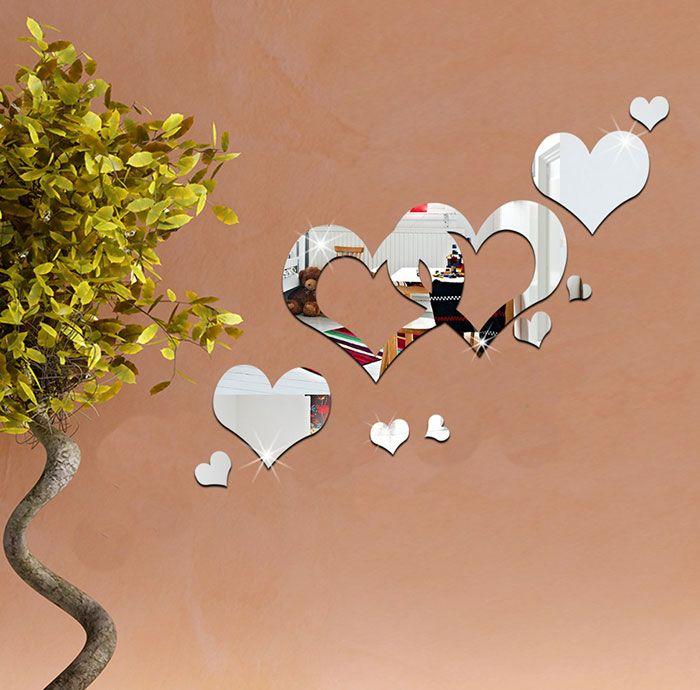 Acrylic Hollow Heart Removable Mirror Wall Art Sticker