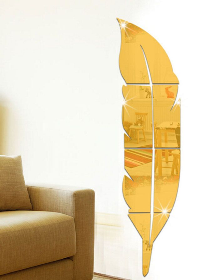 Acrylic Removable Feather Mirror Wall Sticker