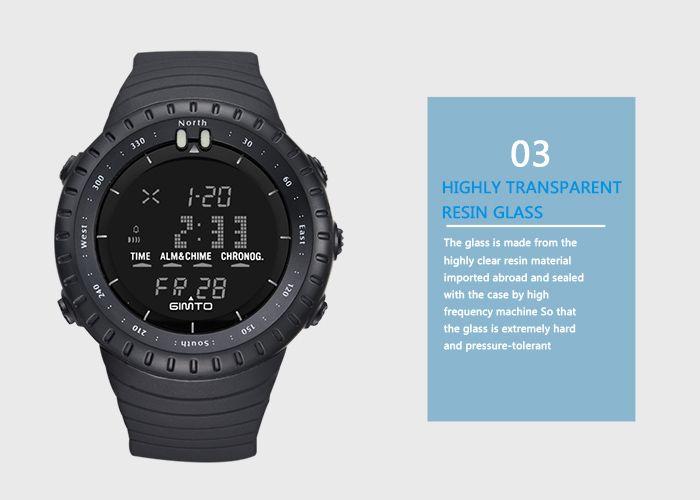 GIMTO Silicone Luminous Digital Sports Watch