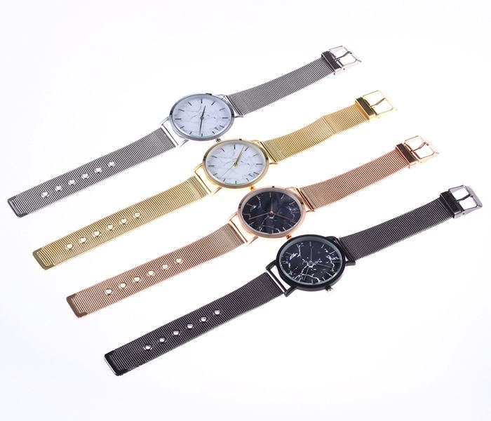 Steel Mesh Band Marble Face Watch
