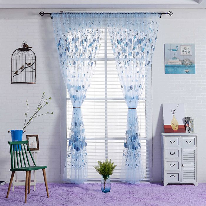 Leaf Transparent Window Curtain