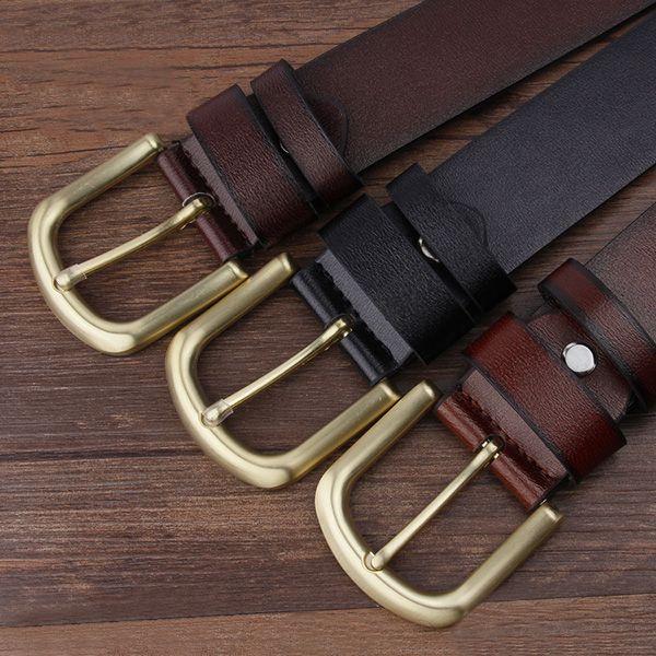 Metal Rectangular Pin Buckle Artificial Leather Belt