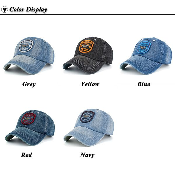 Denim Letters Badge Patchwork Baseball Hat
