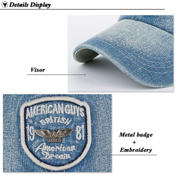 Denim Letters Badge Patchwork Baseball Hat