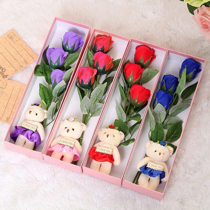 3 Pcs Handmade Soap Rose Artificial Flowers and Bear