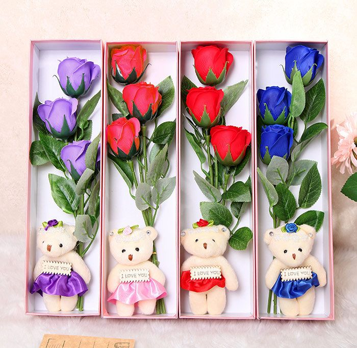 3 Pcs Handmade Soap Rose Artificial Flowers and Bear