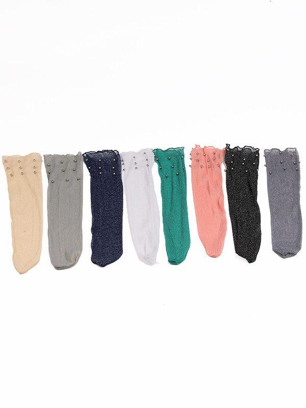 Lurex Yarn Fishnet Crew Socks with Beaded