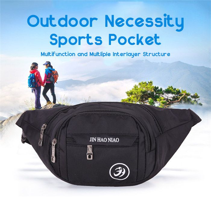 Outdoor Letter Pattern Nylon Waterproof Waist Bag