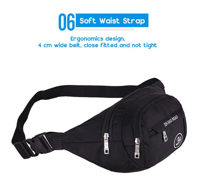 Outdoor Letter Pattern Nylon Waterproof Waist Bag