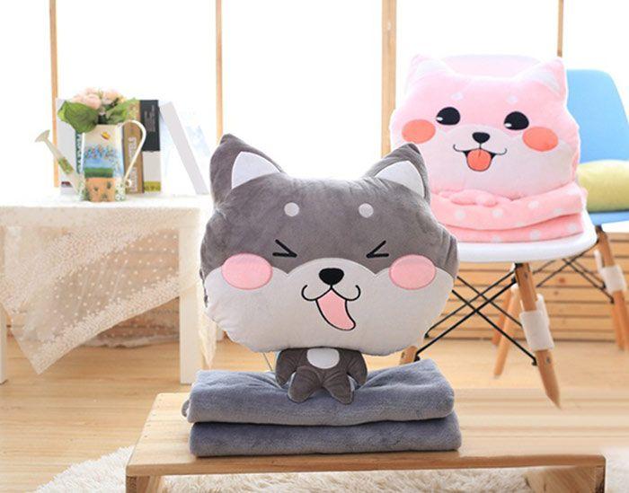 Boston Terrier Cushion Detachable Washable Velboa Pillow and Blanket