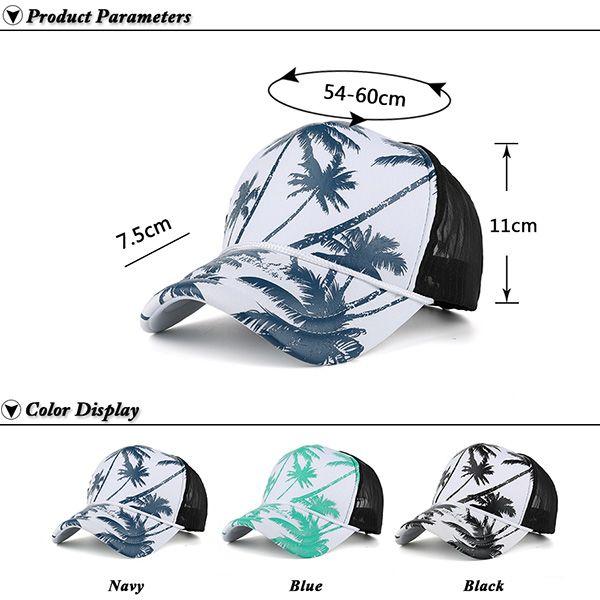 Coconut Palm Printed Mesh Spliced Baseball Hat
