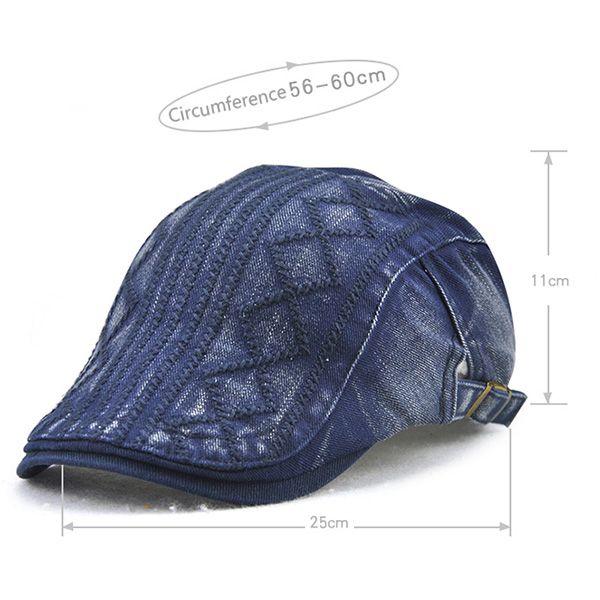 Rhombic Plaid Striped Embroidery Newsboy Hat