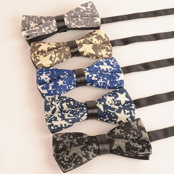 Denim Layered Stars Bow Tie