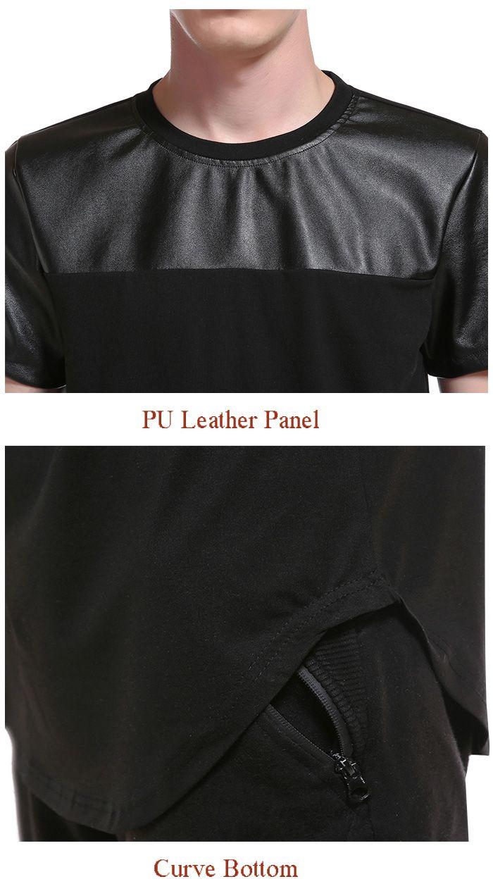 PU Leather Panel Curve Bottom Longline T-Shirt