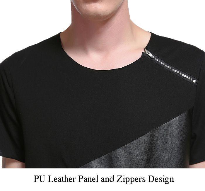 Zippers Design PU Leather Panel Asymmetrical T-shirt