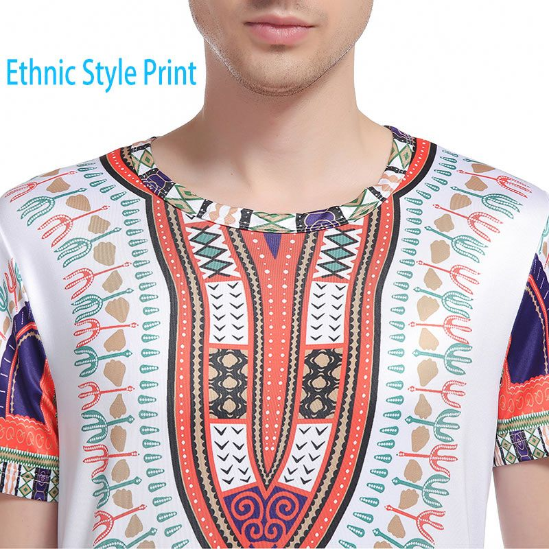 Crew Neck Ethnic Style Print Curve Bottom T-Shirt