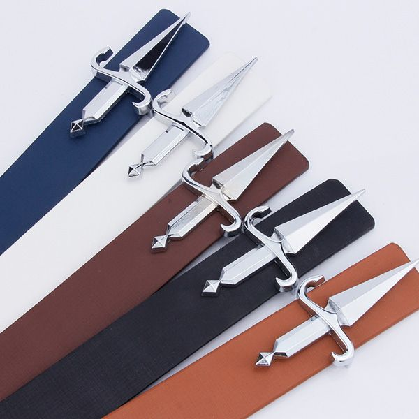 Plate Buckle Tapered Crucifixion Faux Leather Belt