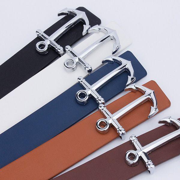 Anchor Shape Plate Buckle Faux Leather Belt