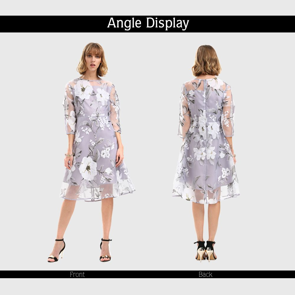 Charming Round Neck 3/4 Sleeve Floral Print See-Through Dress For Women