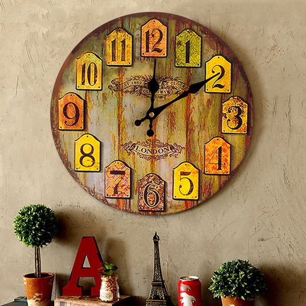 Vintage Analog Number Wood Round Wall Clock