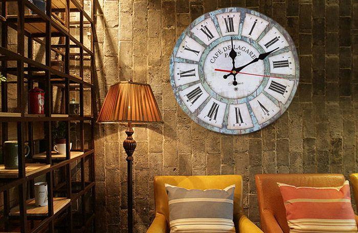 Vintage Wood Round Analog Living Room Wall Clock