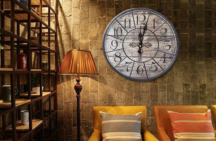 Vintage Analog Mute Wood Round Wall Clock