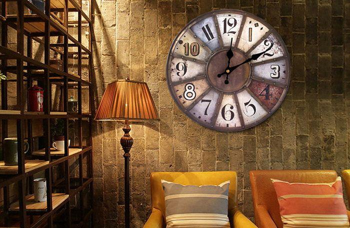 Western Vintage Analog Mute Wood Wall Clock