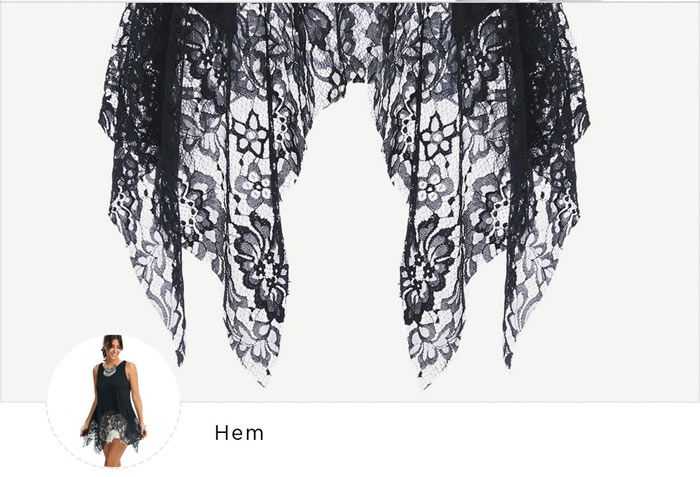 Lace Hem Sleeveless Handkerchief Blouse