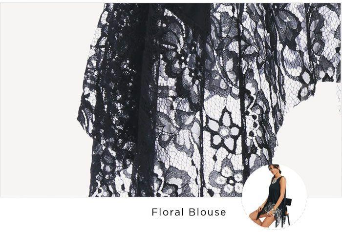 Lace Hem Sleeveless Handkerchief Blouse
