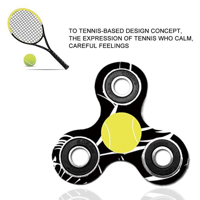Fiddle Toy Tri-bar Tennis Patterned Plastic Fidget Spinner