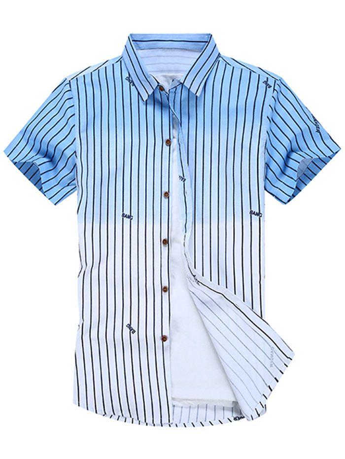 Dip Dye Stripe Ombre Short Sleeve Shirt