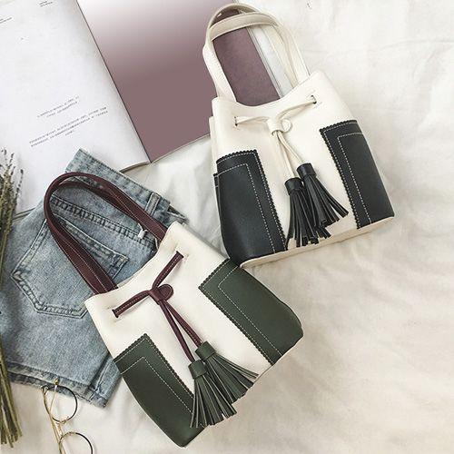 Tassel Color Block Handbag