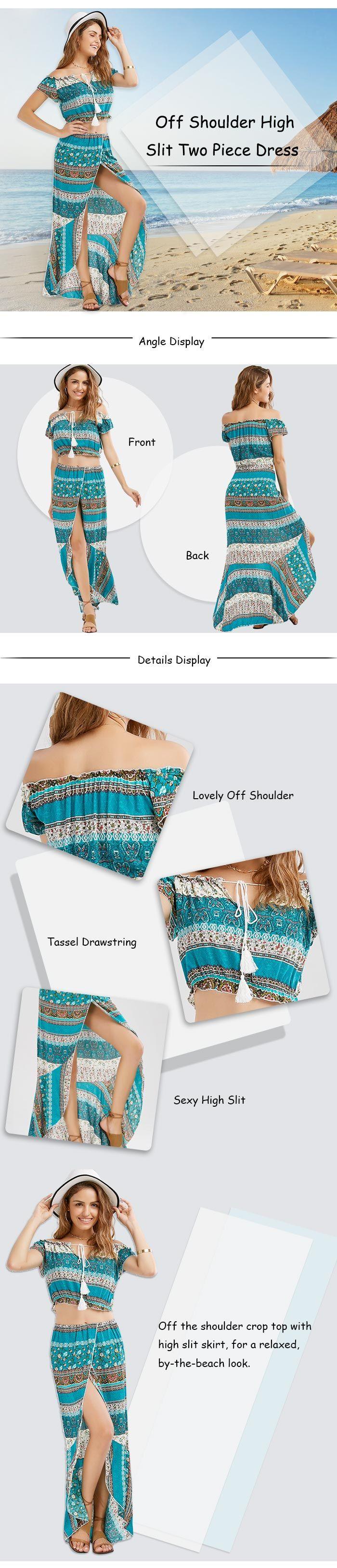 Off Shoulder High Slit Two Piece Dress