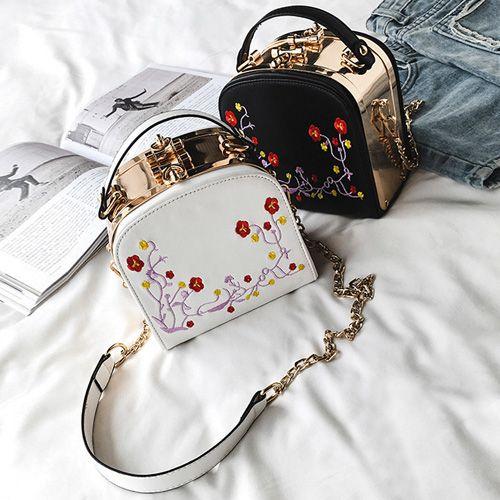 Metal Trimmed Floral Embroidered Handbag