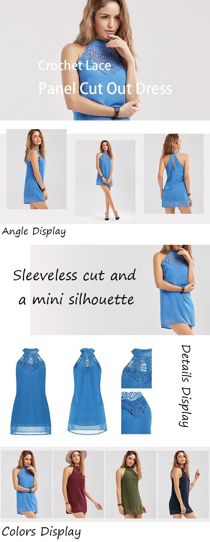 Crochet Lace Panel Cut Out Dress